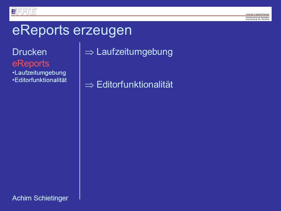 Editorfunktionalität eReports erzeugen Laufzeitumgebung Drucken eReports Laufzeitumgebung Editorfunktionalität