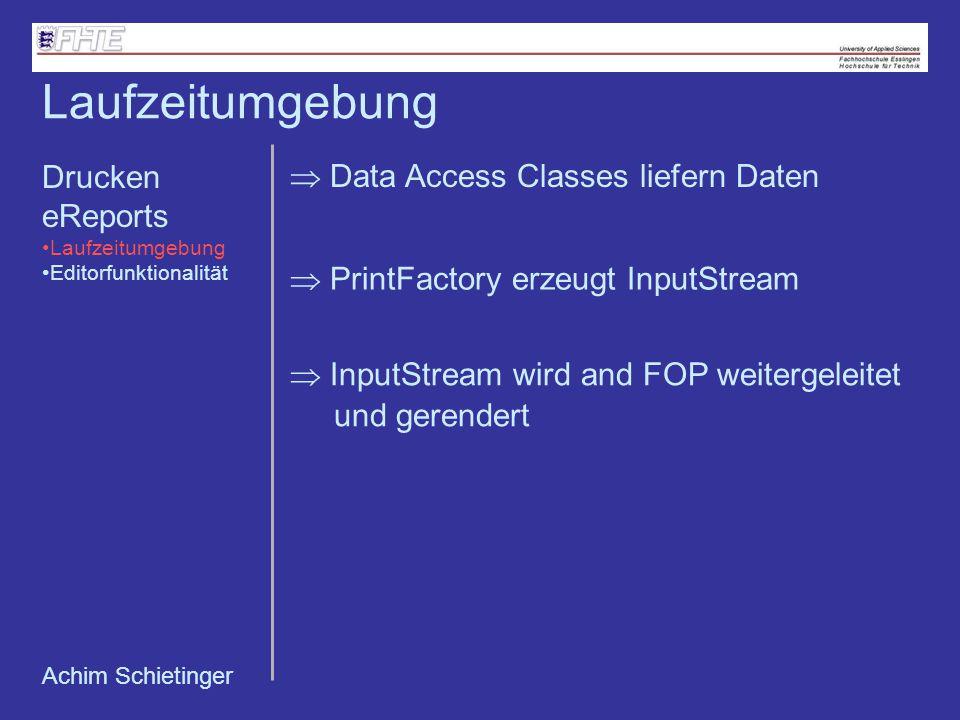 Achim Schietinger Data Access Classes liefern Daten PrintFactory erzeugt InputStream InputStream wird and FOP weitergeleitet und gerendert Laufzeitumg