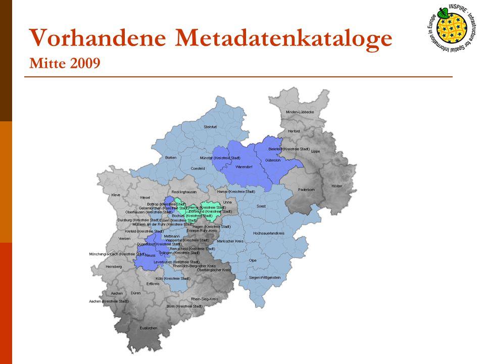 Vorhandene Metadatenkataloge Mitte 2009