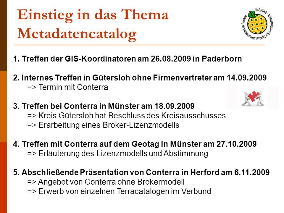Einstieg in das Thema Metadatencatalog 1. Treffen der GIS-Koordinatoren am 26.08.2009 in Paderborn 2. Internes Treffen in Gütersloh ohne Firmenvertret