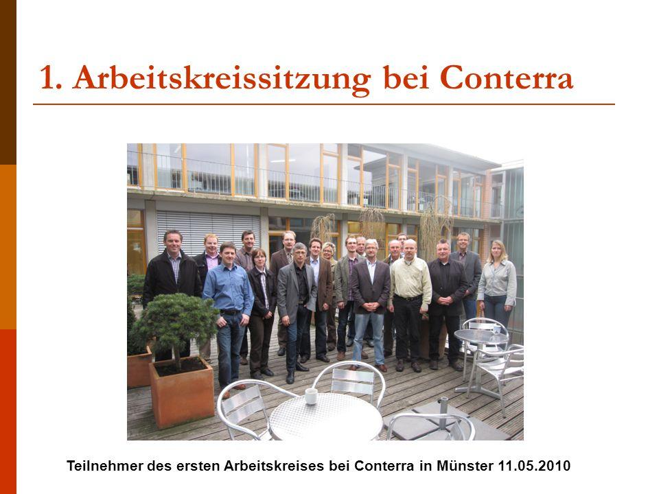 1. Arbeitskreissitzung bei Conterra Teilnehmer des ersten Arbeitskreises bei Conterra in Münster 11.05.2010