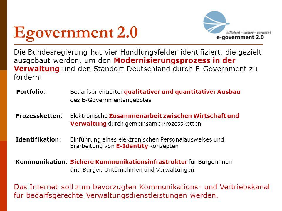 Egovernment 2.0 Die Bundesregierung hat vier Handlungsfelder identifiziert, die gezielt ausgebaut werden, um den Modernisierungsprozess in der Verwalt