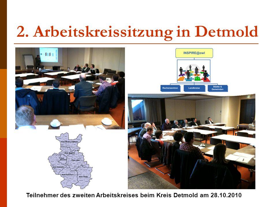 2. Arbeitskreissitzung in Detmold Teilnehmer des zweiten Arbeitskreises beim Kreis Detmold am 28.10.2010