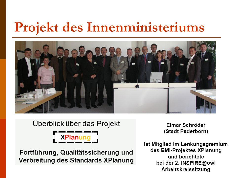 Elmar Schröder (Stadt Paderborn) ist Mitglied im Lenkungsgremium des BMI-Projektes XPlanung und berichtete bei der 2. INSPIRE@owl Arbeitskreissitzung