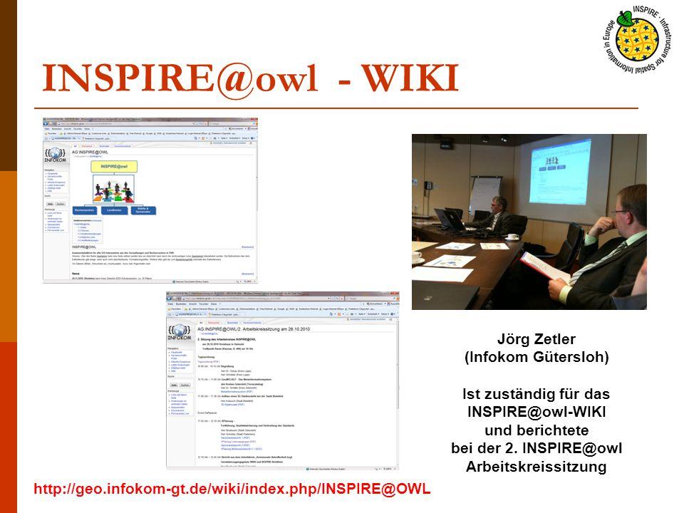INSPIRE@owl - WIKI Jörg Zetler (Infokom Gütersloh) Ist zuständig für das INSPIRE@owl-WIKI und berichtete bei der 2.