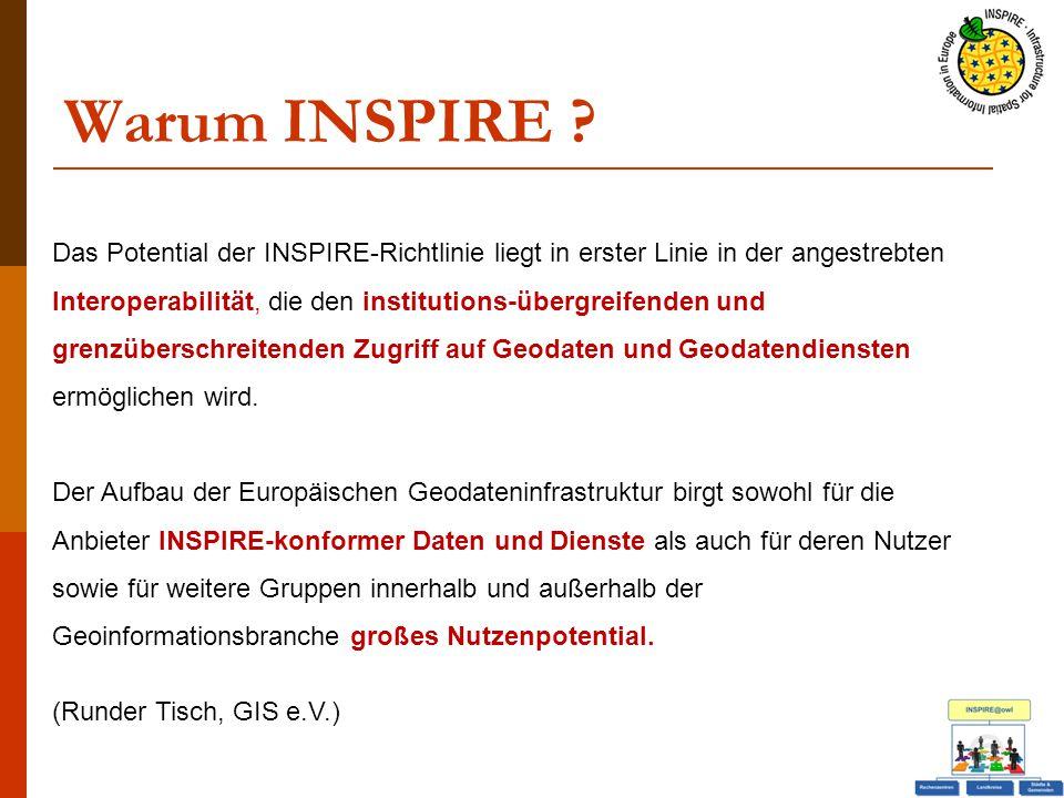 Warum INSPIRE ? Das Potential der INSPIRE-Richtlinie liegt in erster Linie in der angestrebten Interoperabilität, die den institutions-übergreifenden