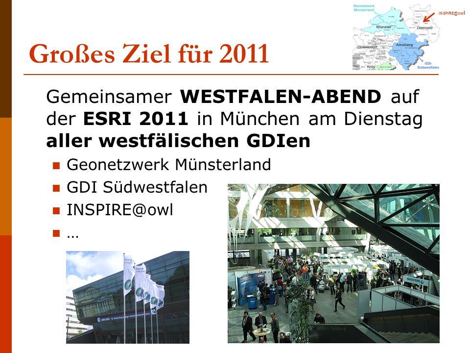 Großes Ziel für 2011 Gemeinsamer WESTFALEN-ABEND auf der ESRI 2011 in München am Dienstag aller westfälischen GDIen Geonetzwerk Münsterland GDI Südwestfalen INSPIRE@owl … INSPIRE@ow l