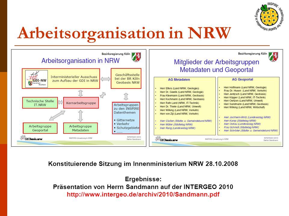 Arbeitsorganisation in NRW Konstituierende Sitzung im Innenministerium NRW 28.10.2008 Ergebnisse: Präsentation von Herrn Sandmann auf der INTERGEO 2010 http://www.intergeo.de/archiv/2010/Sandmann.pdf