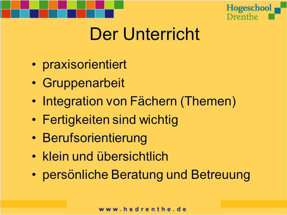 Der Unterricht praxisorientiert Gruppenarbeit Integration von Fächern (Themen) Fertigkeiten sind wichtig Berufsorientierung klein und übersichtlich persönliche Beratung und Betreuung