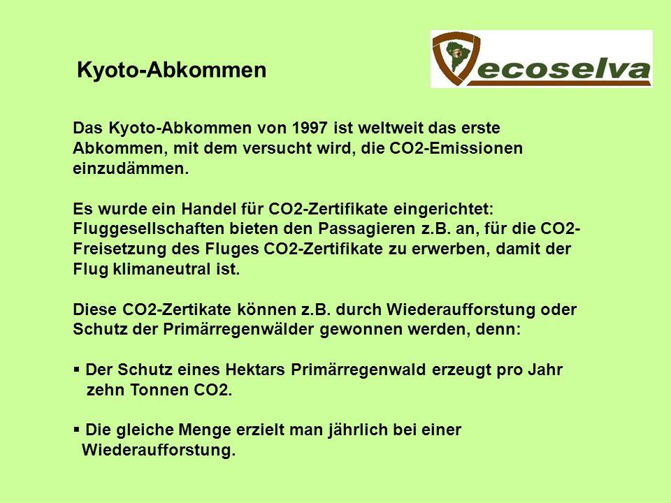 Kyoto-Abkommen Das Kyoto-Abkommen von 1997 ist weltweit das erste Abkommen, mit dem versucht wird, die CO2-Emissionen einzudämmen. Es wurde ein Handel