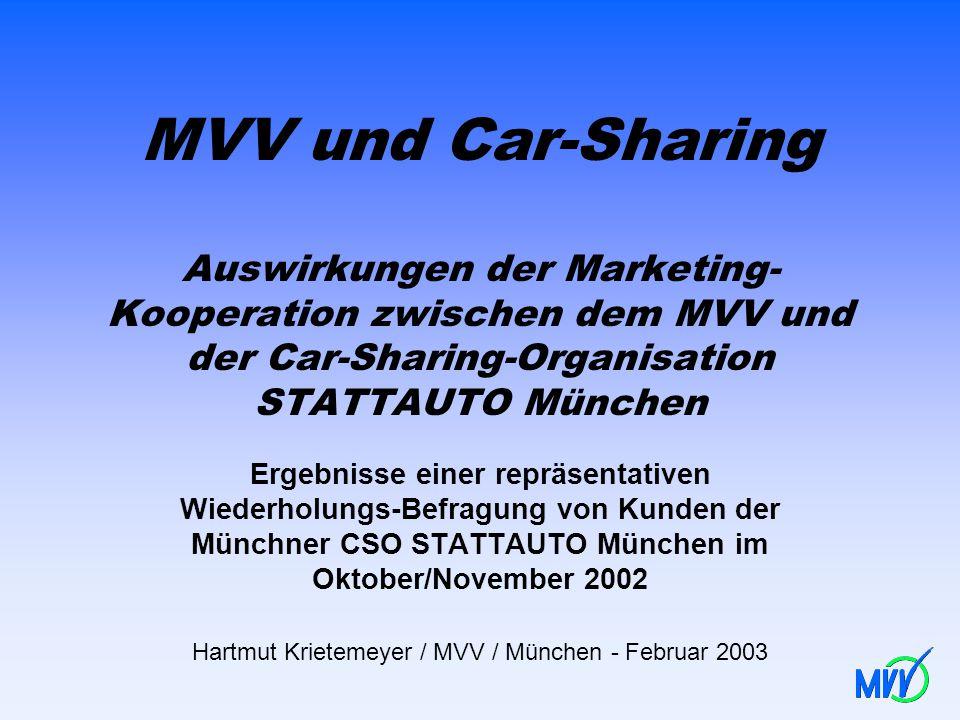 MVV und Car-Sharing Auswirkungen der Marketing- Kooperation zwischen dem MVV und der Car-Sharing-Organisation STATTAUTO München Ergebnisse einer reprä