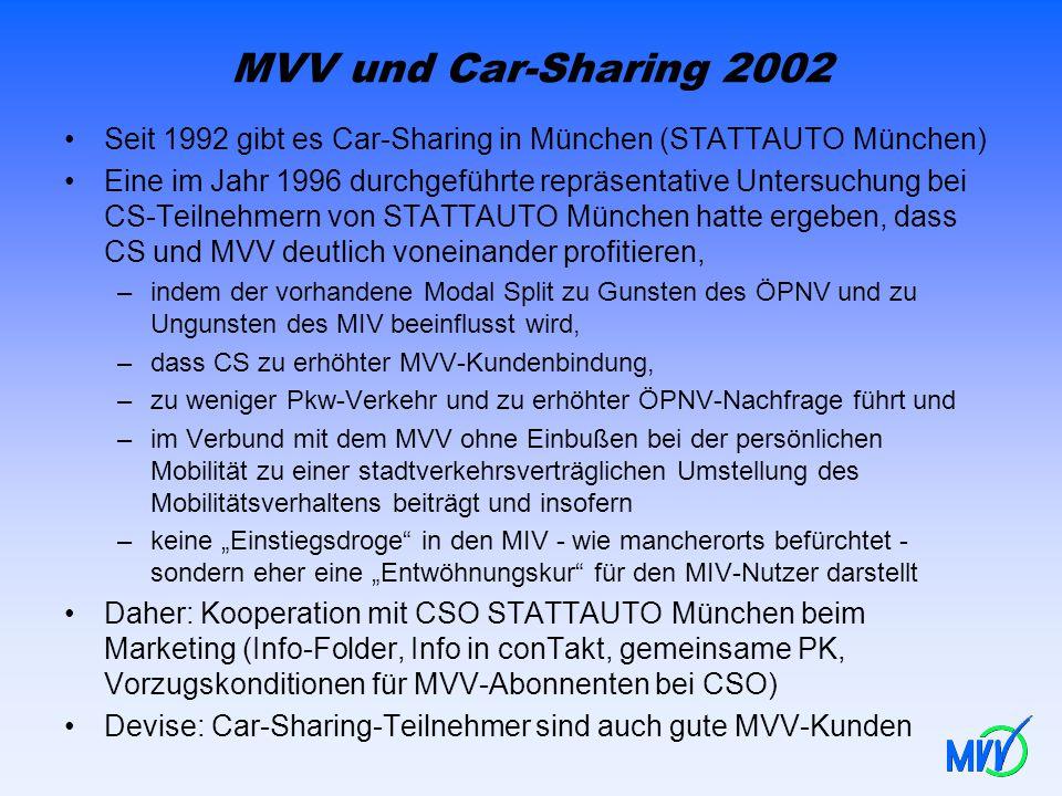 MVV und Car-Sharing 2002 Seit 1992 gibt es Car-Sharing in München (STATTAUTO München) Eine im Jahr 1996 durchgeführte repräsentative Untersuchung bei