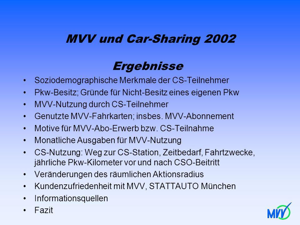 MVV und Car-Sharing 2002 Ergebnisse Soziodemographische Merkmale der CS-Teilnehmer Pkw-Besitz; Gründe für Nicht-Besitz eines eigenen Pkw MVV-Nutzung d