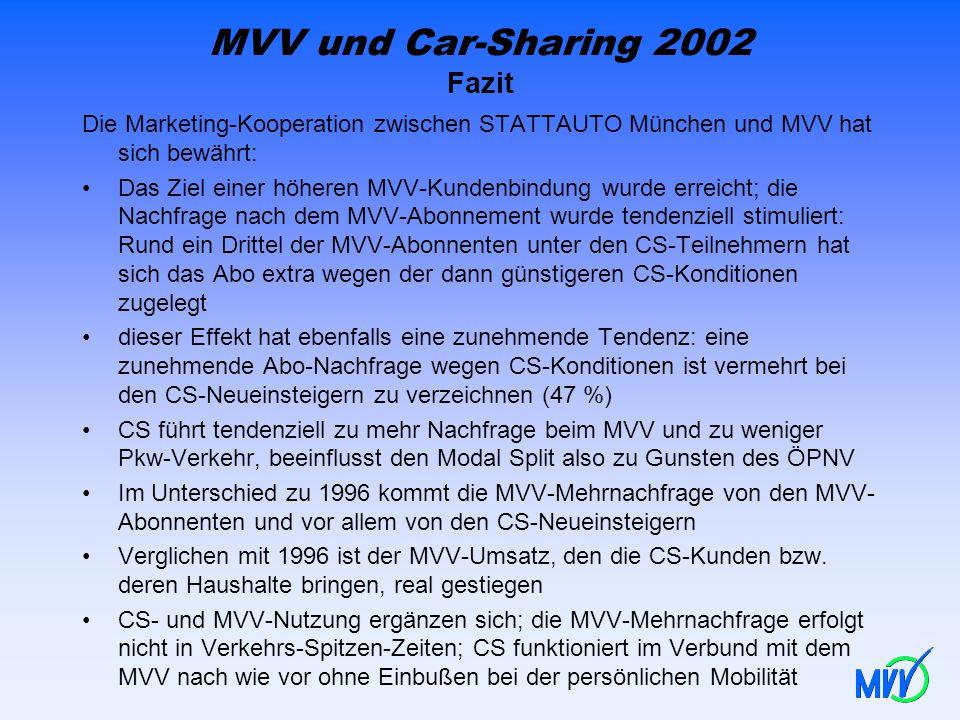 MVV und Car-Sharing 2002 Fazit Die Marketing-Kooperation zwischen STATTAUTO München und MVV hat sich bewährt: Das Ziel einer höheren MVV-Kundenbindung