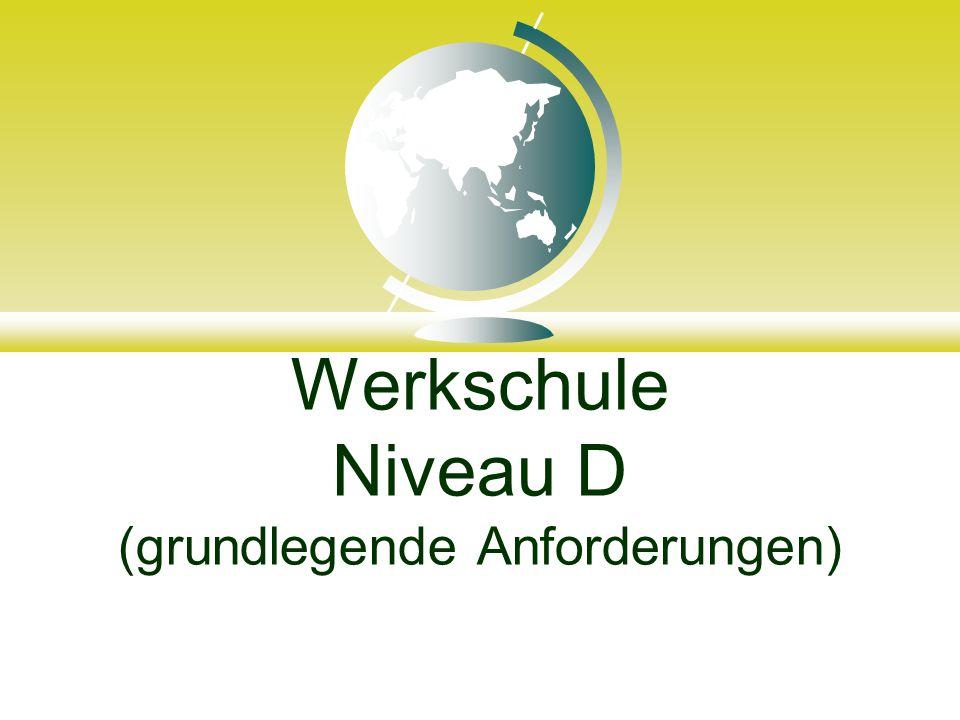 Werkschule Niveau D (grundlegende Anforderungen)