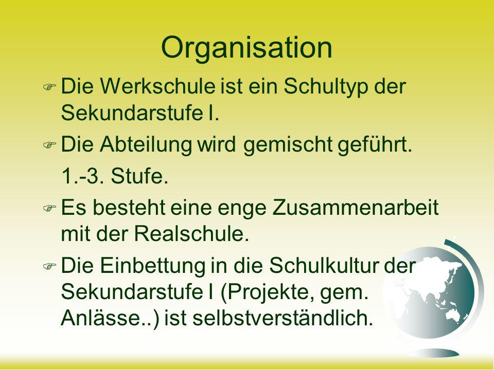 Organisation Die Werkschule ist ein Schultyp der Sekundarstufe I. Die Abteilung wird gemischt geführt. 1.-3. Stufe. Es besteht eine enge Zusammenarbei