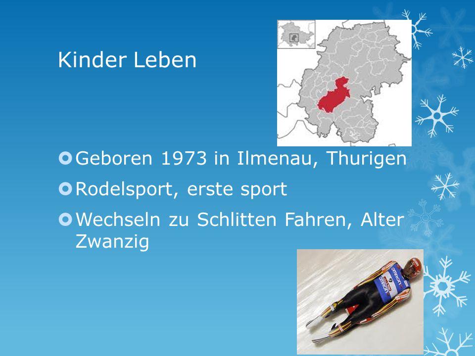 Kinder Leben Geboren 1973 in Ilmenau, Thurigen Rodelsport, erste sport Wechseln zu Schlitten Fahren, Alter Zwanzig