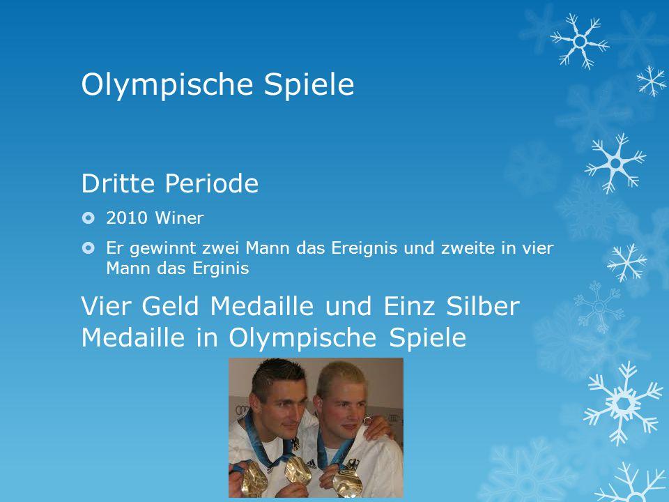 Olympische Spiele Dritte Periode 2010 Winer Er gewinnt zwei Mann das Ereignis und zweite in vier Mann das Erginis Vier Geld Medaille und Einz Silber Medaille in Olympische Spiele