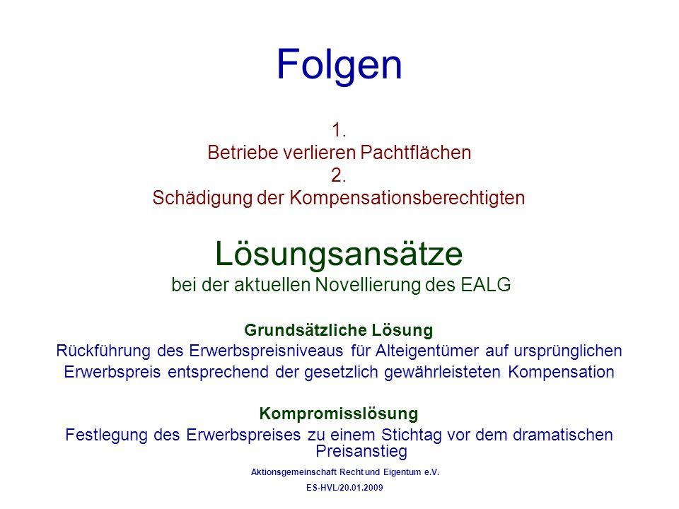 Folgen 1. Betriebe verlieren Pachtflächen 2. Schädigung der Kompensationsberechtigten Lösungsansätze bei der aktuellen Novellierung des EALG Grundsätz