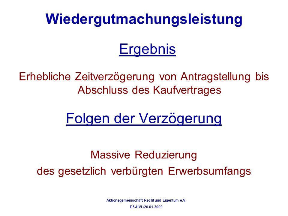 Wiedergutmachungsleistung Flächenerwerb nach § 3 Absatz 5 EALG (Alteigentümer-Erwerb) Entwicklung des Erwerbsumfangs am Beispiel von Ackerland Ackerzahl 47 Aktionsgemeinschaft Recht und Eigentum e.V.