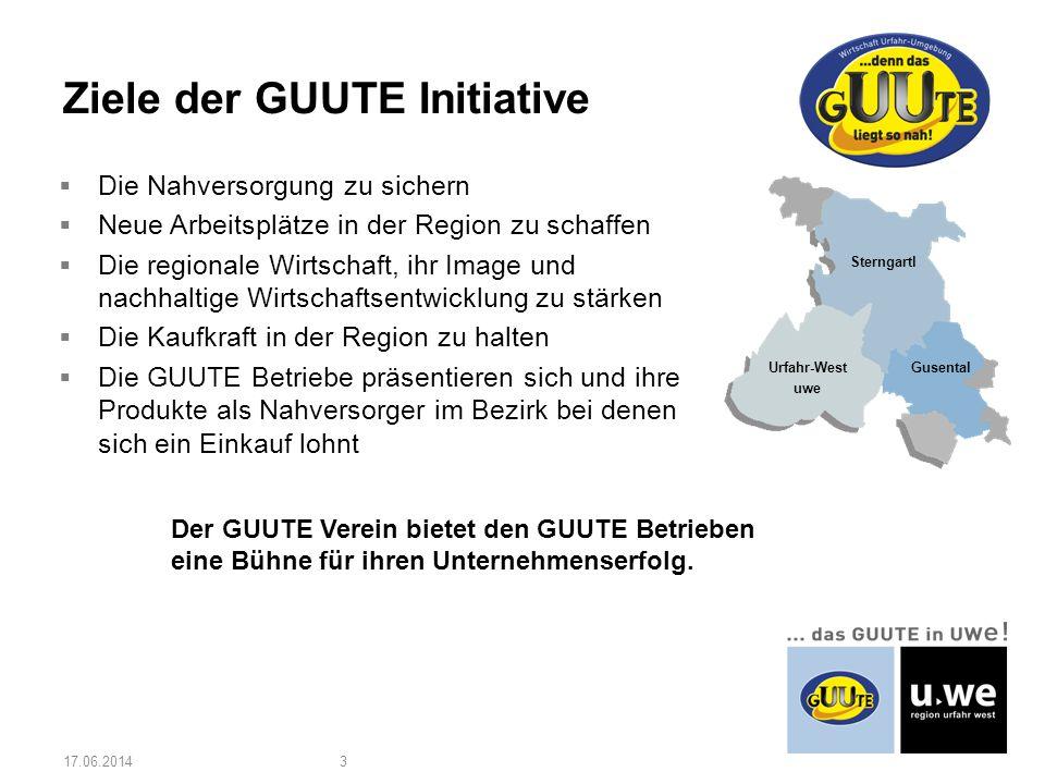 Urfahr-West uwe Sterngartl Gusental Die Nahversorgung zu sichern Neue Arbeitsplätze in der Region zu schaffen Die regionale Wirtschaft, ihr Image und nachhaltige Wirtschaftsentwicklung zu stärken Die Kaufkraft in der Region zu halten Die GUUTE Betriebe präsentieren sich und ihre Produkte als Nahversorger im Bezirk bei denen sich ein Einkauf lohnt Ziele der GUUTE Initiative 17.06.20143 Der GUUTE Verein bietet den GUUTE Betrieben eine Bühne für ihren Unternehmenserfolg.