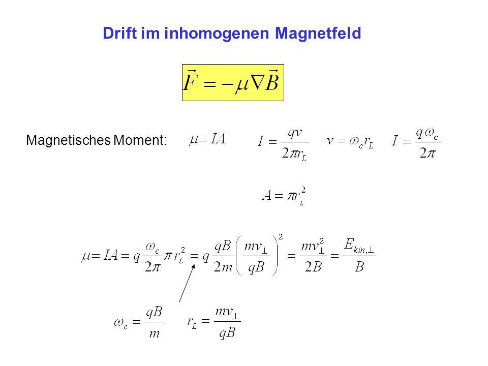 Drift im inhomogenen Magnetfeld Magnetisches Moment: