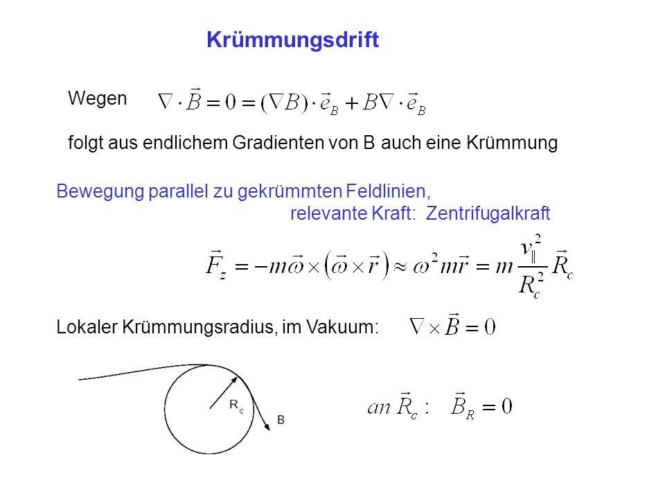 Krümmungsdrift Wegen folgt aus endlichem Gradienten von B auch eine Krümmung Bewegung parallel zu gekrümmten Feldlinien, relevante Kraft: Zentrifugalk