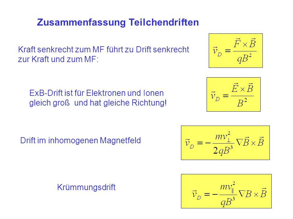 Zusammenfassung Teilchendriften Kraft senkrecht zum MF führt zu Drift senkrecht zur Kraft und zum MF: ExB-Drift ist für Elektronen und Ionen gleich gr