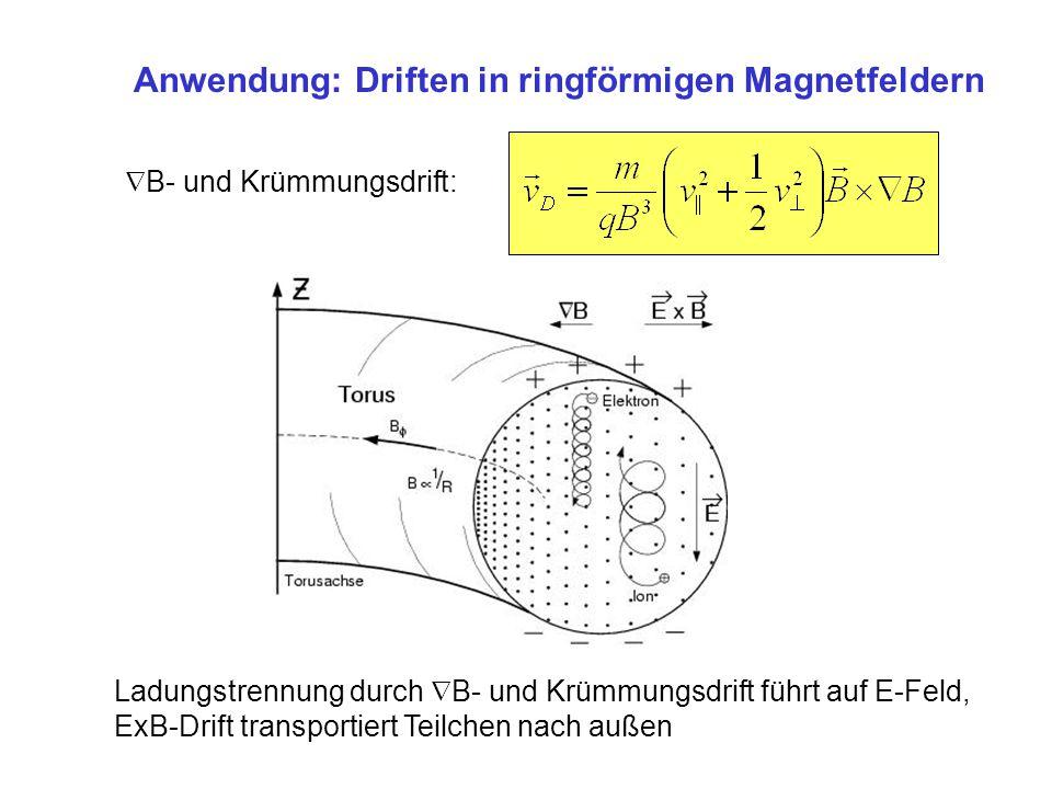 Anwendung: Driften in ringförmigen Magnetfeldern B- und Krümmungsdrift: Ladungstrennung durch B- und Krümmungsdrift führt auf E-Feld, ExB-Drift transp