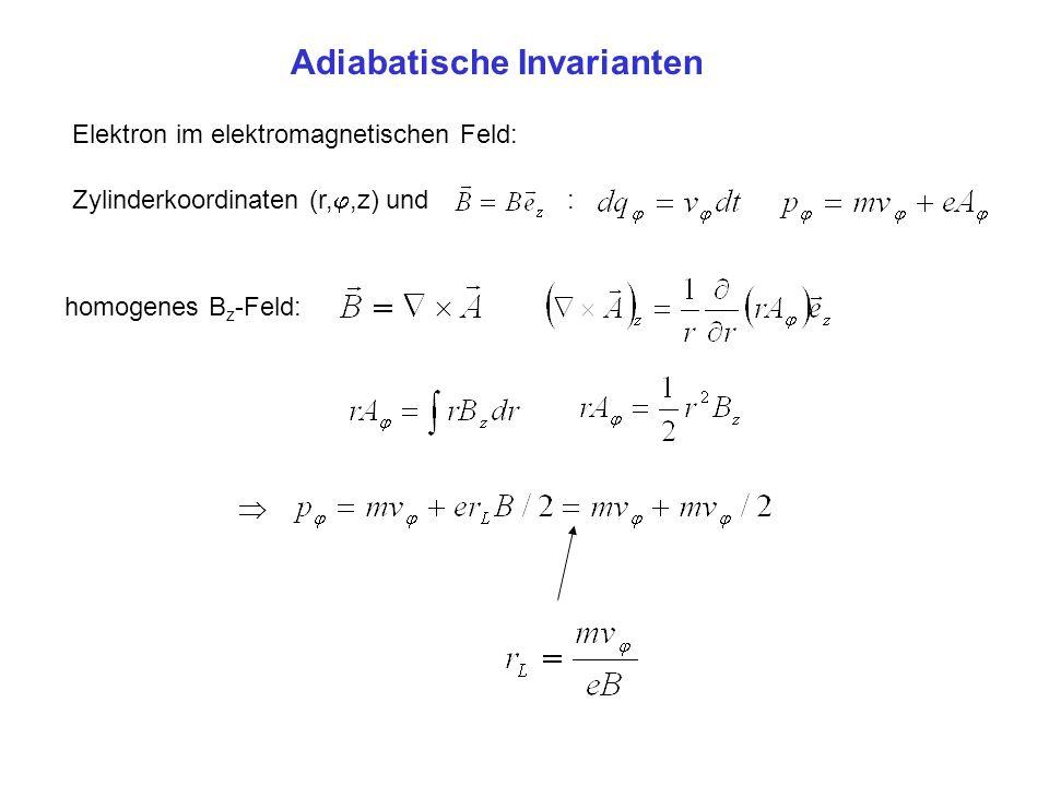 Adiabatische Invarianten Elektron im elektromagnetischen Feld: Zylinderkoordinaten (r,,z) und : homogenes B z -Feld: