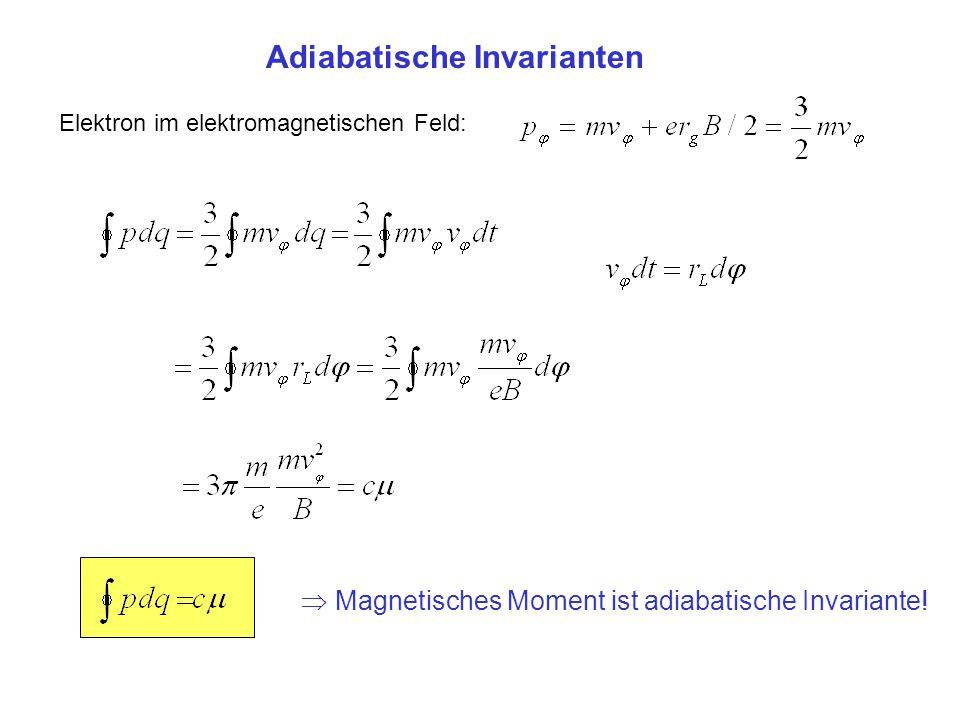 Adiabatische Invarianten Elektron im elektromagnetischen Feld: Magnetisches Moment ist adiabatische Invariante!