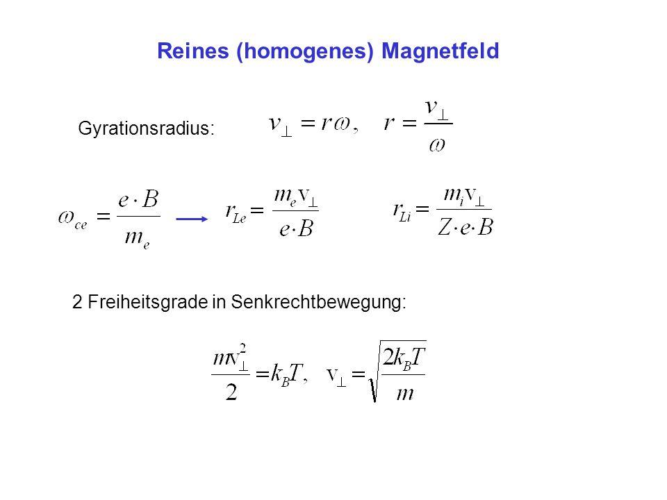 Gyration im Magnetfeld Gyrationsradius: 10 keV Elektron im Erdmagnetfeld (5 10 -5 T): 6.75 m Sonnenwind-Proton, v=300 km/s, 5 10 -9 T:626 km 1 keV He + ion in Sonnenatmosphäre (5 10 -2 T): 0.183 m 3.5 MeV He 2+ in 8T Fusionsreaktor: 3.38 cm heutige Fusionsexperimente (2T, 1 keV): Elektronen: 53 m Ionen: 2.2 mm
