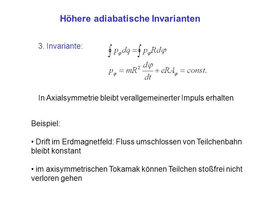 Höhere adiabatische Invarianten 3. Invariante: In Axialsymmetrie bleibt verallgemeinerter Impuls erhalten Beispiel: Drift im Erdmagnetfeld: Fluss umsc