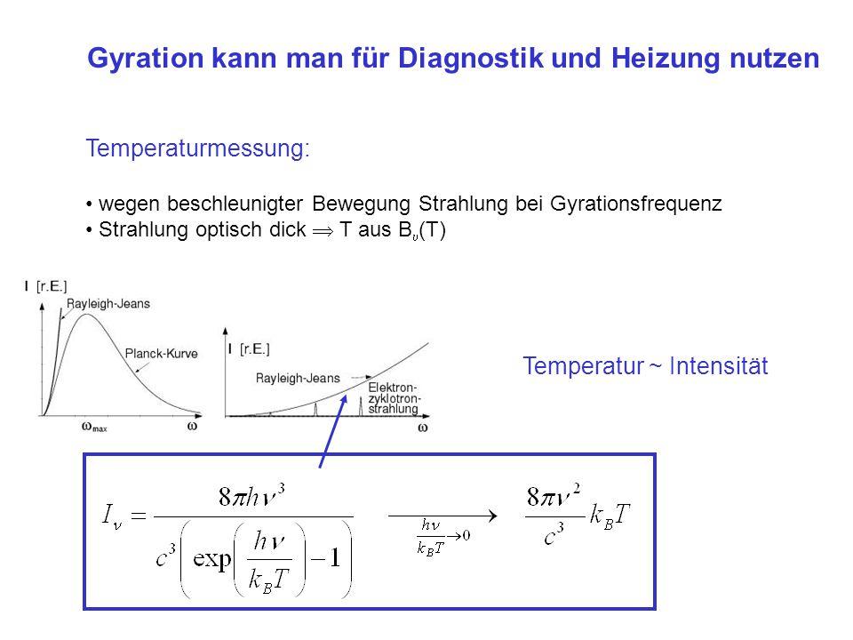 Gyration kann man für Diagnostik und Heizung nutzen Temperaturmessung: wegen beschleunigter Bewegung Strahlung bei Gyrationsfrequenz Strahlung optisch dick T aus B (T) Plasmaheizung: Einstrahlen von Wellen bei ce oder ci (bzw.