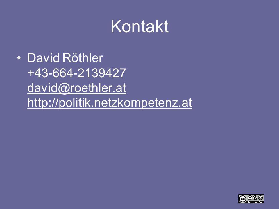 Kontakt David Röthler +43-664-2139427 david@roethler.at http://politik.netzkompetenz.at david@roethler.at http://politik.netzkompetenz.at