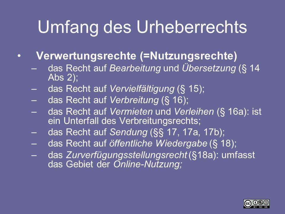 Umfang des Urheberrechts Verwertungsrechte (=Nutzungsrechte) –das Recht auf Bearbeitung und Übersetzung (§ 14 Abs 2); –das Recht auf Vervielfältigung