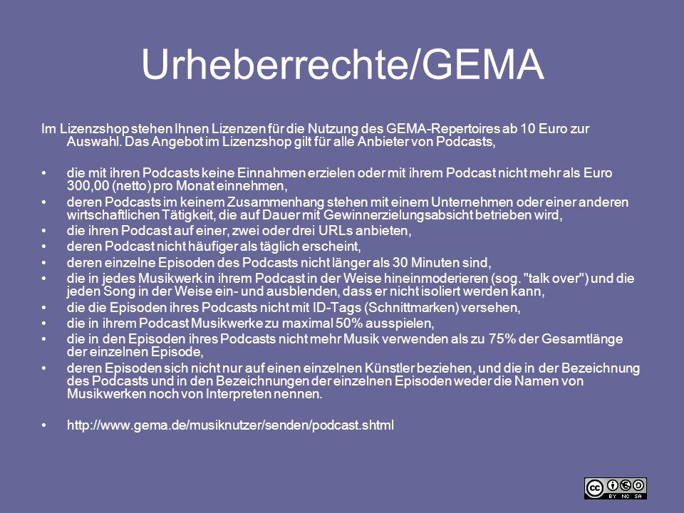 Urheberrechte/GEMA Im Lizenzshop stehen Ihnen Lizenzen für die Nutzung des GEMA-Repertoires ab 10 Euro zur Auswahl. Das Angebot im Lizenzshop gilt für