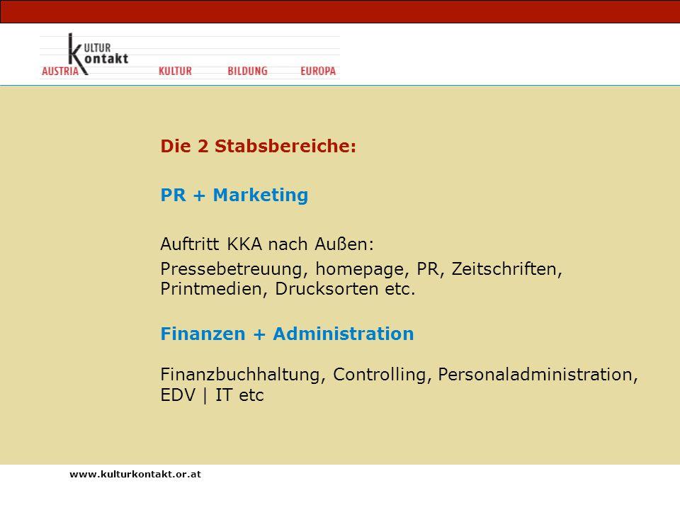 www.kulturkontakt.or.at Die 2 Stabsbereiche: PR + Marketing Auftritt KKA nach Außen: Pressebetreuung, homepage, PR, Zeitschriften, Printmedien, Drucksorten etc.