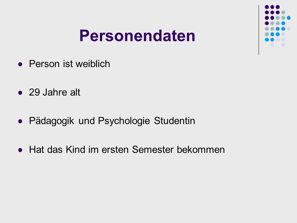 Personendaten Person ist weiblich 29 Jahre alt Pädagogik und Psychologie Studentin Hat das Kind im ersten Semester bekommen