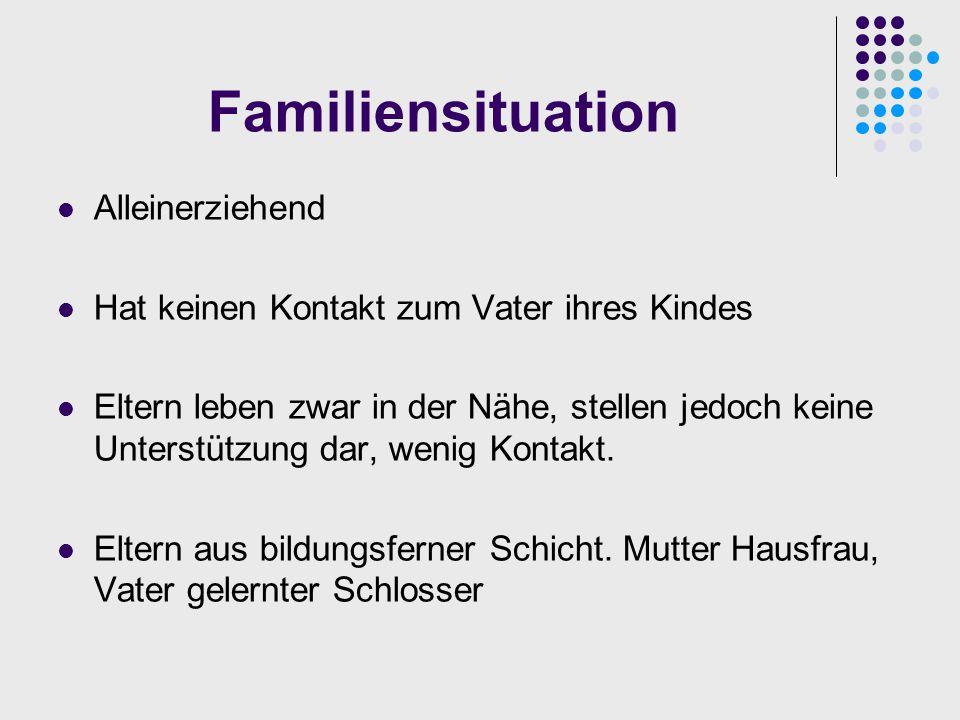 Familiensituation Alleinerziehend Hat keinen Kontakt zum Vater ihres Kindes Eltern leben zwar in der Nähe, stellen jedoch keine Unterstützung dar, wen