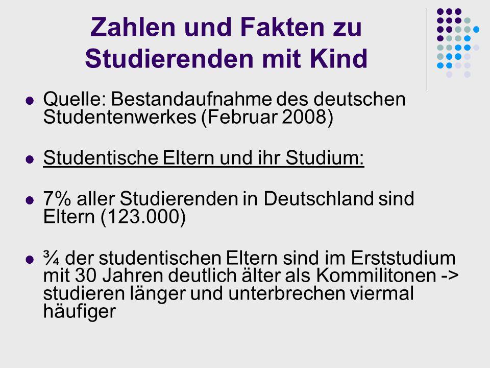 Zahlen und Fakten zu Studierenden mit Kind Quelle: Bestandaufnahme des deutschen Studentenwerkes (Februar 2008) Studentische Eltern und ihr Studium: 7