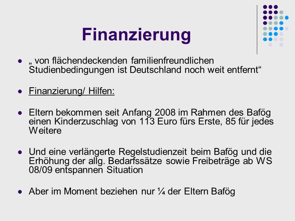 Finanzierung/ Einnahmen Monatlicher Lebensunterhalt wird durch staatliche Unterstützung bestritten, die sich wie folgt zusammensetzt: Bafög Kindergeld Erziehungsgeld = ca.1000 + 300 Erziehungsgeld (für max.