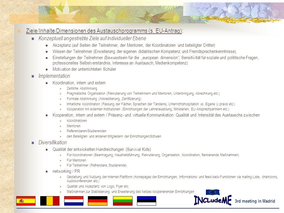 3rd meeting in Madrid Ziele/Inhalte/Dimensionen des Austauschprogramms (s.