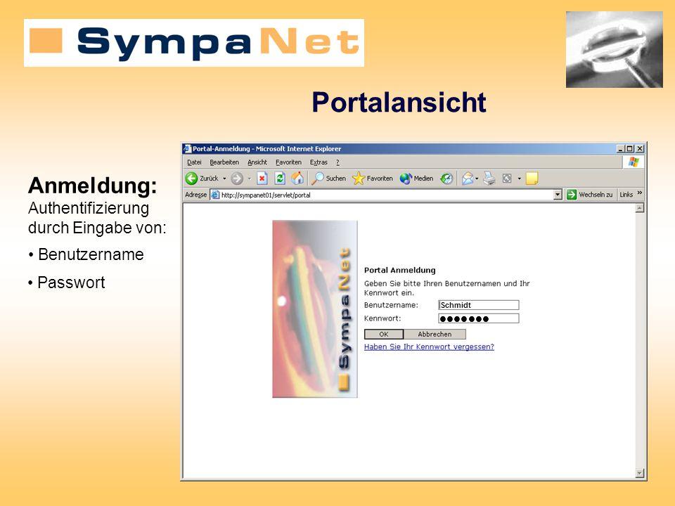 Portalansicht Schmidt Benutzername Anmeldung: Authentifizierung durch Eingabe von: Passwort