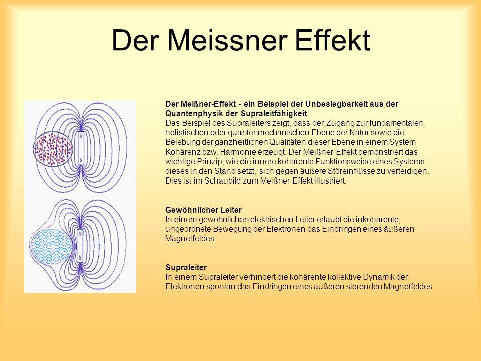 Der Meissner Effekt Der Meißner-Effekt - ein Beispiel der Unbesiegbarkeit aus der Quantenphysik der Supraleitfähigkeit Das Beispiel des Supraleiters zeigt, dass der Zugang zur fundamentalen holistischen oder quantenmechanischen Ebene der Natur sowie die Belebung der ganzheitlichen Qualitäten dieser Ebene in einem System Kohärenz bzw.