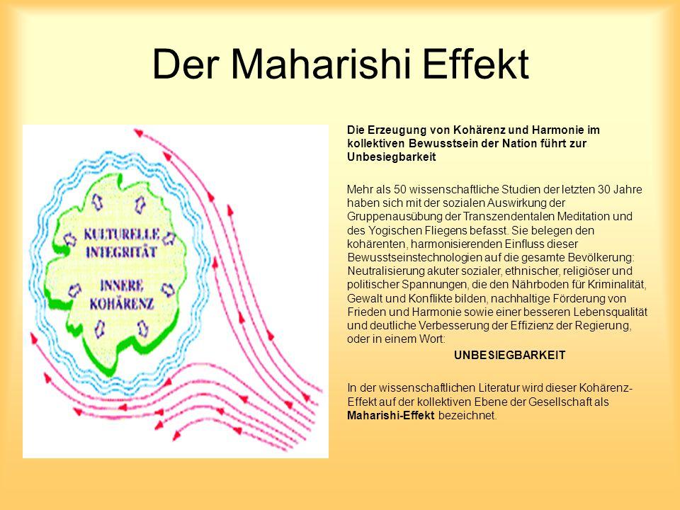 Der Maharishi Effekt Die Erzeugung von Kohärenz und Harmonie im kollektiven Bewusstsein der Nation führt zur Unbesiegbarkeit Mehr als 50 wissenschaftl