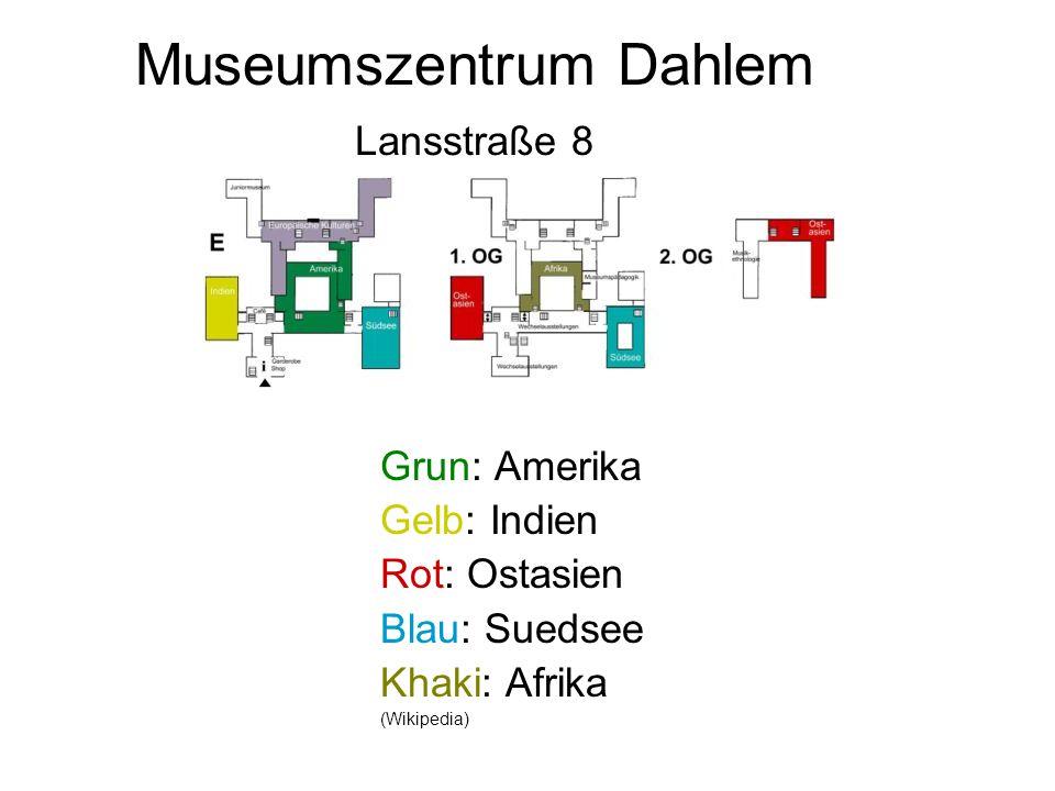 Museumszentrum Dahlem Lansstraße 8 Grun: Amerika Gelb: Indien Rot: Ostasien Blau: Suedsee Khaki: Afrika (Wikipedia)