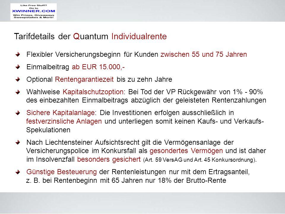 Tarifdetails der Quantum Individualrente Flexibler Versicherungsbeginn für Kunden zwischen 55 und 75 Jahren Einmalbeitrag ab EUR 15.000,- Optional Ren