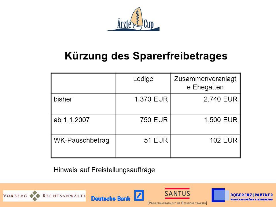 Kürzung des Sparerfreibetrages LedigeZusammenveranlagt e Ehegatten bisher1.370 EUR2.740 EUR ab 1.1.2007750 EUR1.500 EUR WK-Pauschbetrag51 EUR102 EUR H