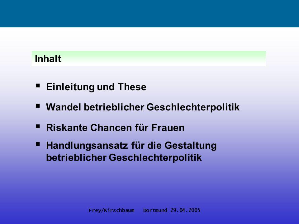 Frey/Kirschbaum Dortmund 29.04.2005 Einleitung und These Wandel betrieblicher Geschlechterpolitik Riskante Chancen für Frauen Handlungsansatz für die
